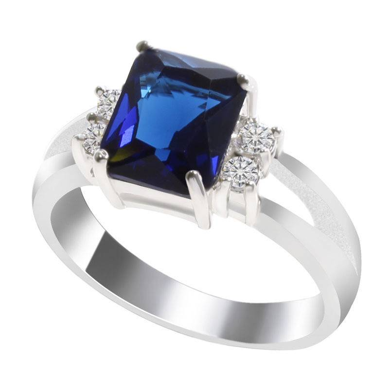 Fashion Blue Gemstone Zircon Wedding Rings For Women