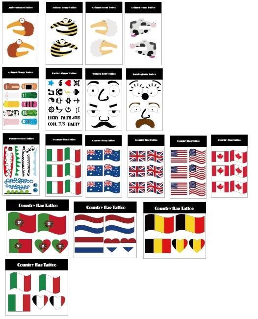 Custom made logo sticky tattoo flag tattoo for 2014 world cup