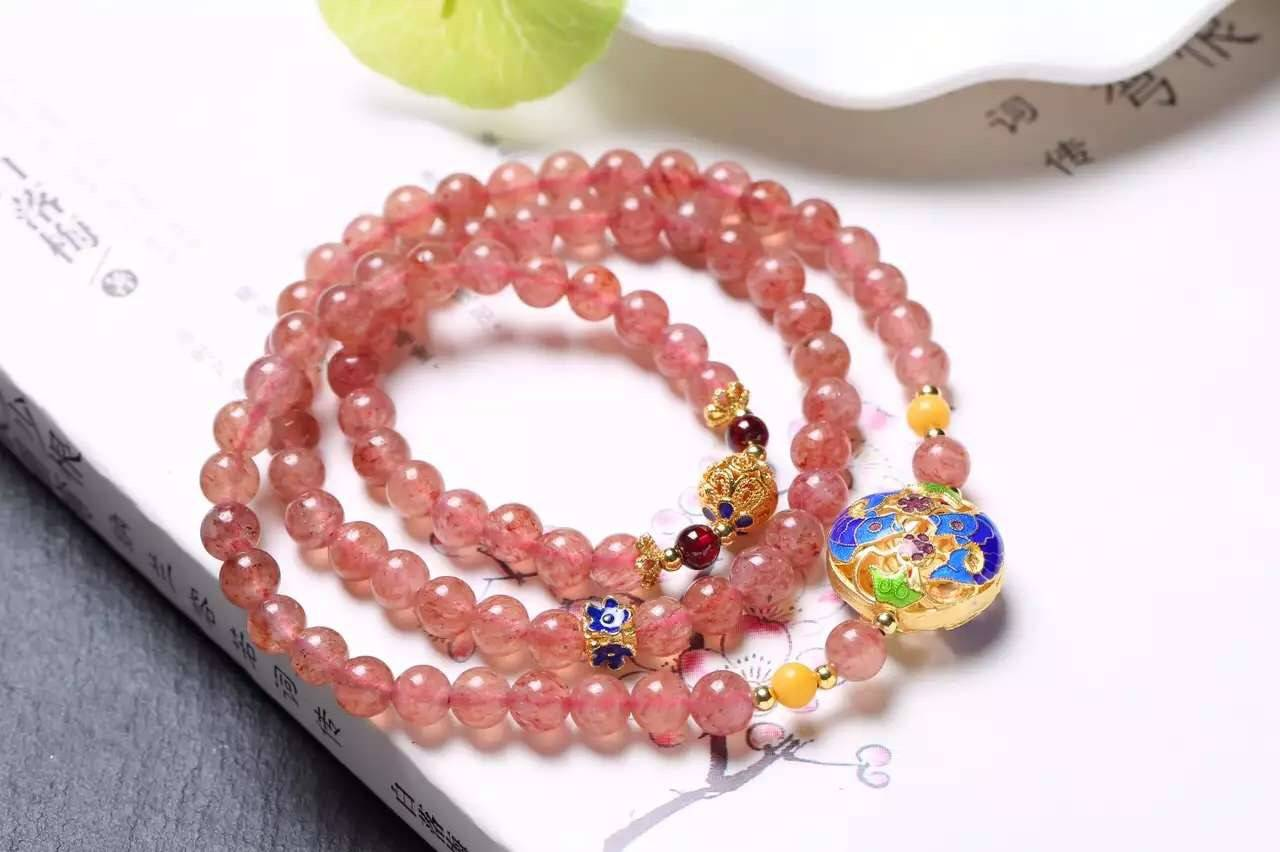 NEFFLY Unique Traditional Chinese Style Natural Strawberry Crystal Bracelet S925 6mm lapis lazul Acc