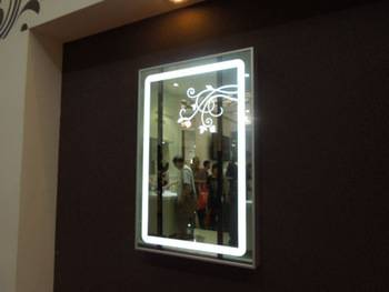 Wholesale LED illuminated bathrom mirror With etching flower