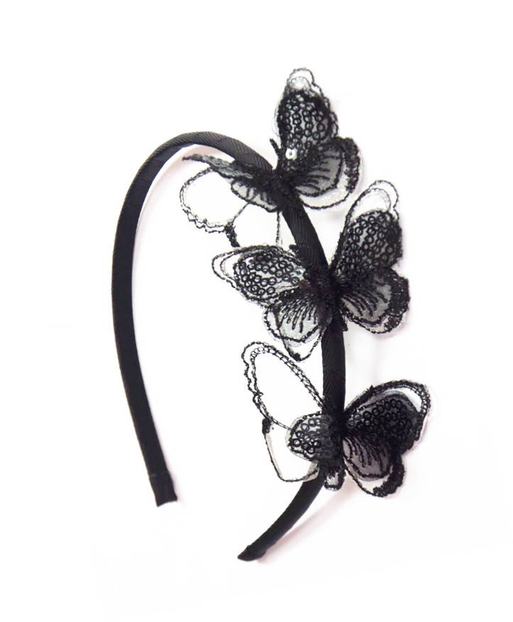 Mesh Black Sequin Butterflies Hair Band For Adult
