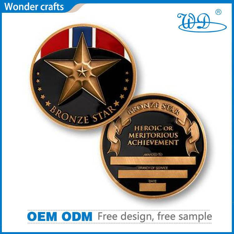 No minimum 3d die cast tungsten red bronze cheap custom souvenir star challenge coins