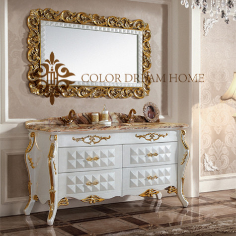 Economical high quality new product hand painted wood white bathroom cabinet for bathroom furniture