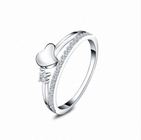 Excellent christmas gift romantic heart shaped jewelry ring,popular