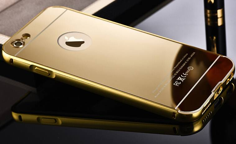 New arrival Luxury 24K Gold Electroplating Iphone6+plus phone cases Aluminum Alloy with Acrylic mirr