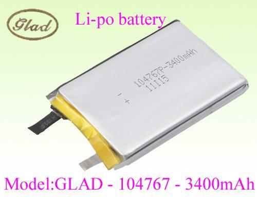 104767 li-ion polymer battery for power bank 3400mAh
