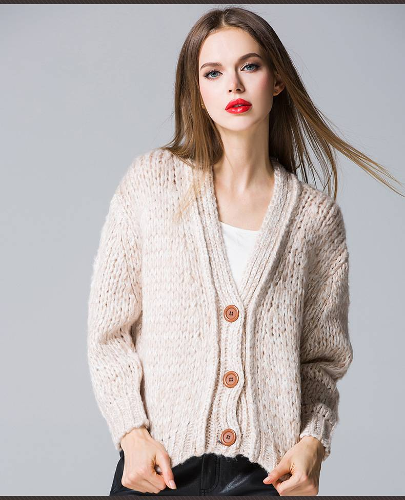 2015 korea popular V-collar pure color cardigan knitted sweater