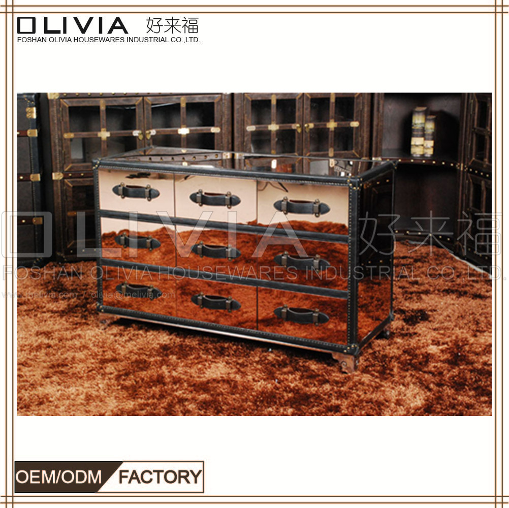 9 drawers cabinet Walnut Color Tv Cabinet,Wooden Tv Cabinet With Stainless Steel Legs