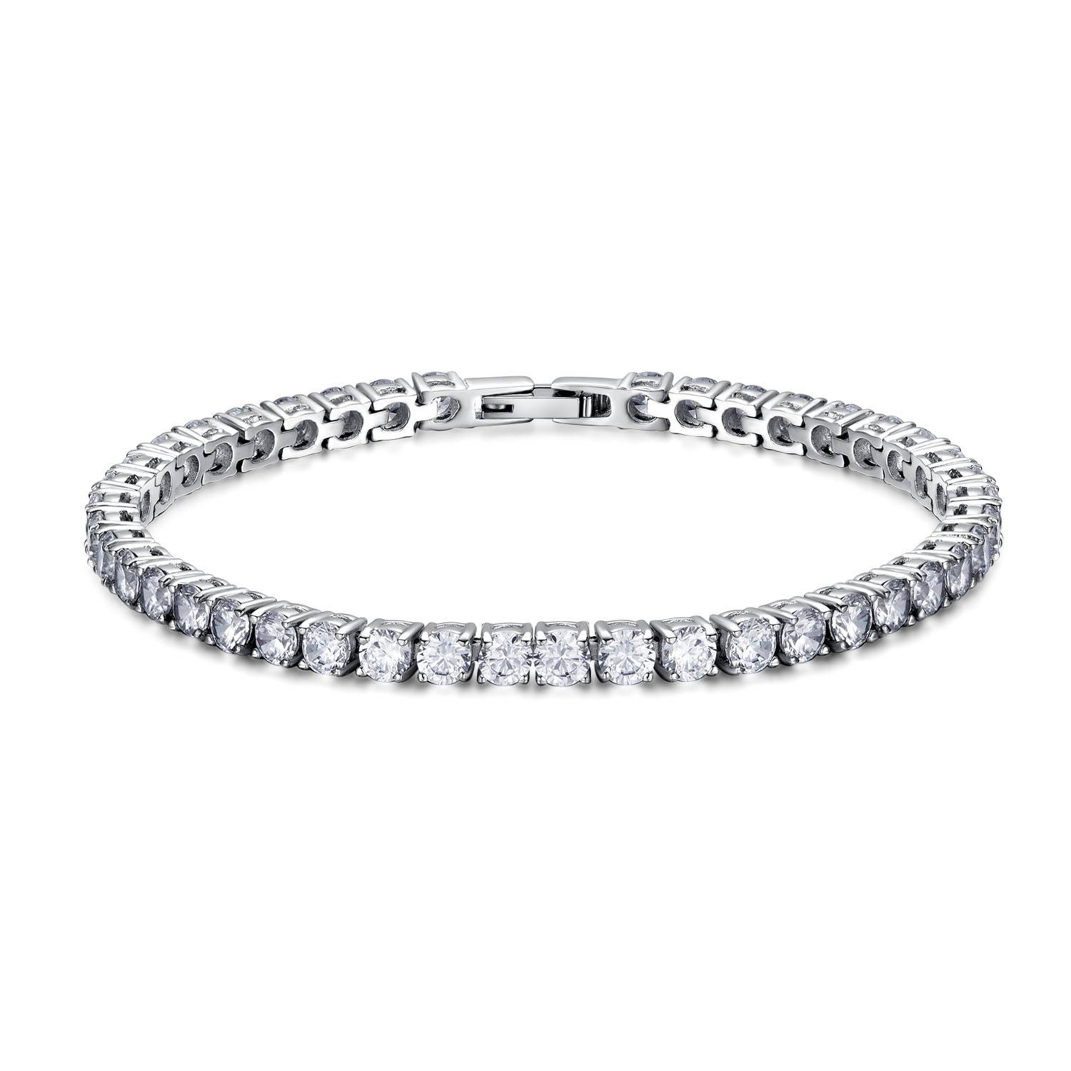 New Coming Classical 316L stainless steel four prong settings 4mm colors cz tennis bracelet