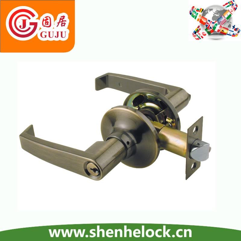 Antique brass Tubular lever safe front door lock