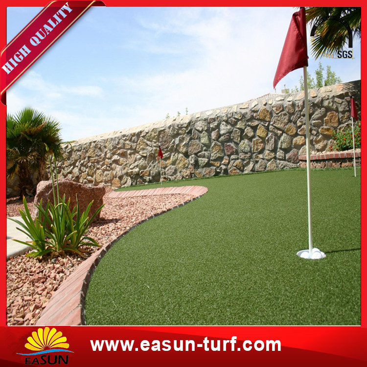 Mini golf artificial fake grass lawn PP PE grass yarn fabric for home and garden with SBR Glue-Donut