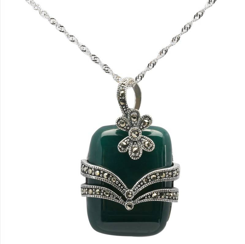 Antique Silver Pendant with Marcasite Stone and Jade, Marcasite Jewelry Supplier