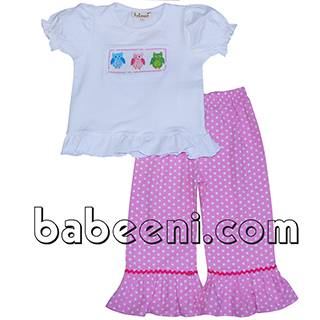 Cute owls smocked sets for girl - BB366