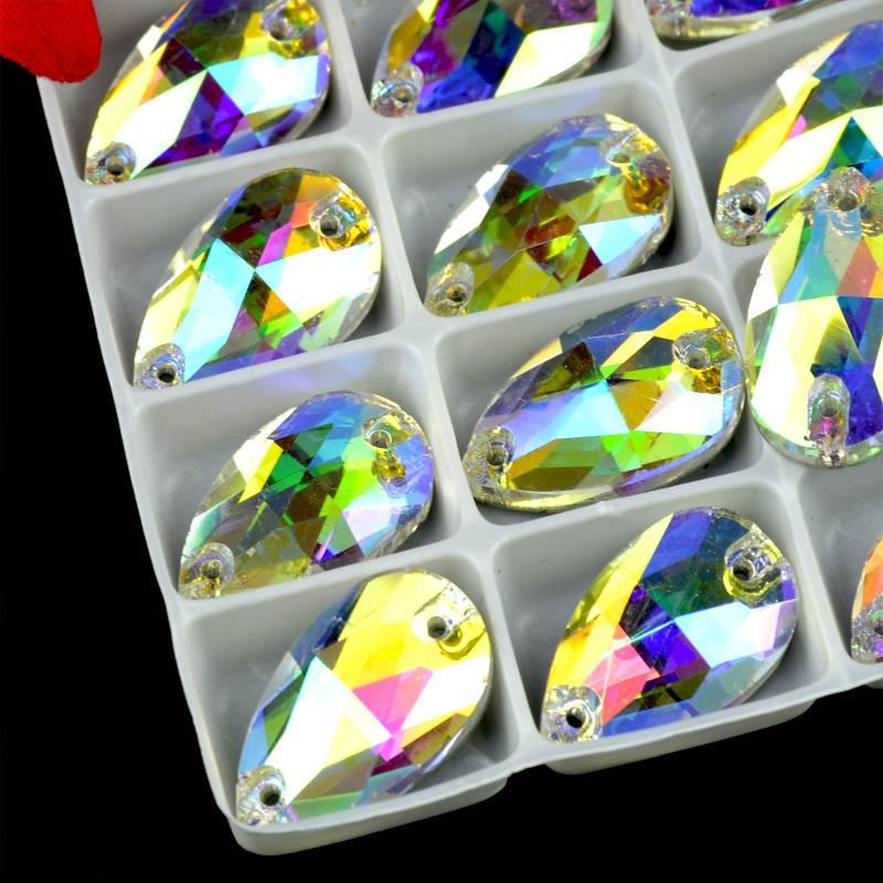 Best quality water drop crystal sew on rhinestones, sew on crystals Aurora boreale