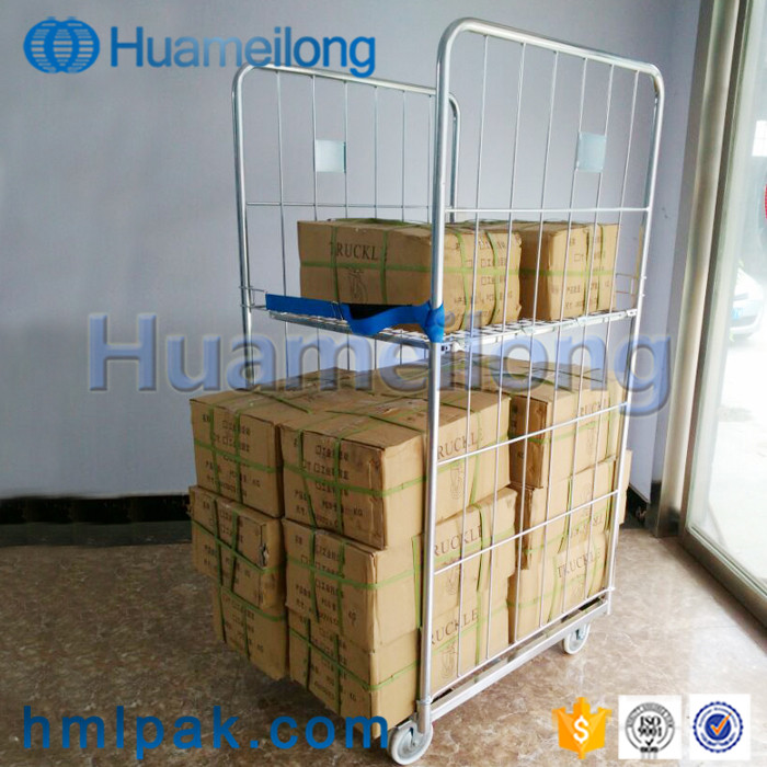 Galvanized 2 sides collapsible detachable wholesale supermarket metal wire mesh roll container