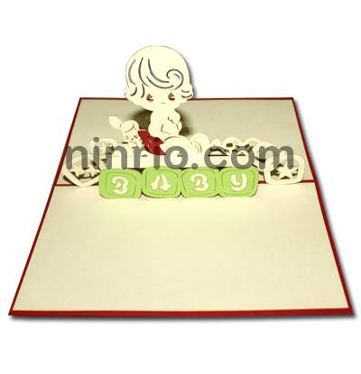 Baby birthday 3D pop up greeting card