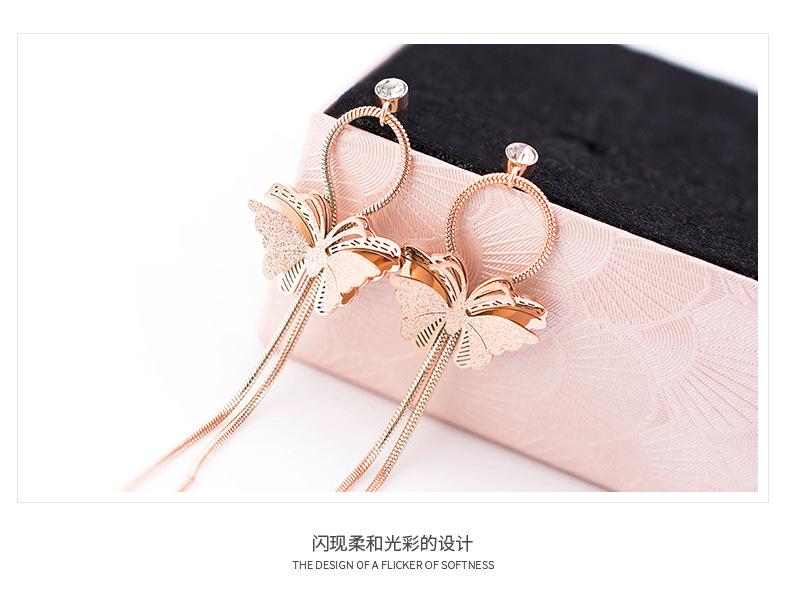 Beautiful Stainless Steel Chain Fashion Women Girls Rose Gold Butterfly Long Drop Earrings For women