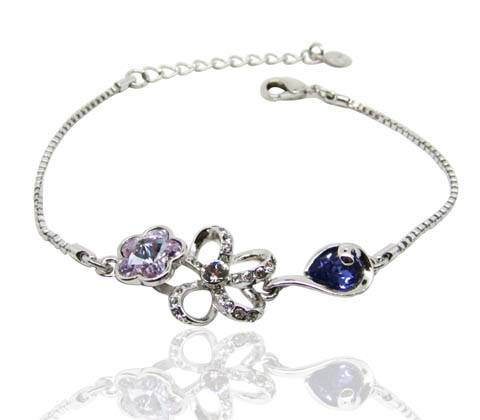 Wholesale Beautiful palace style amazing bracelet flower shape with elegant purple Swarovski element