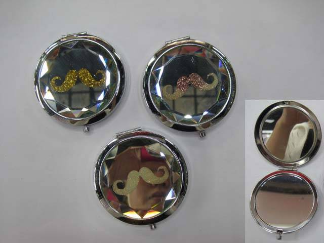 Moustache Glitter Crystal Makeup Mirror Fashion Compact Mirrors