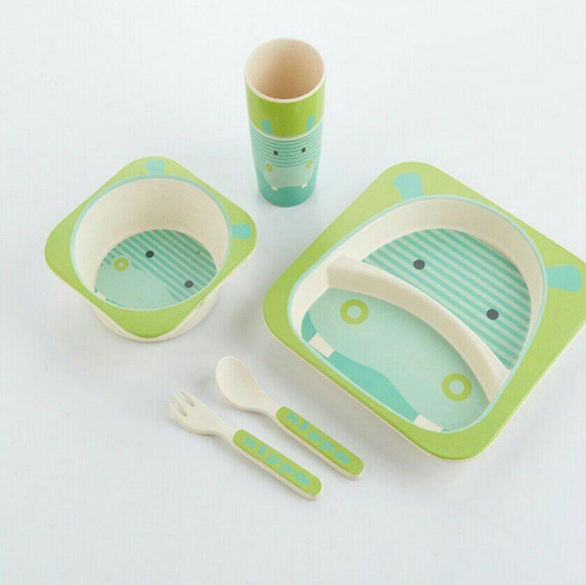 Bamboo Fiber Children Dinnerware Biodegradable 5 Pieces Kids Tableware Set