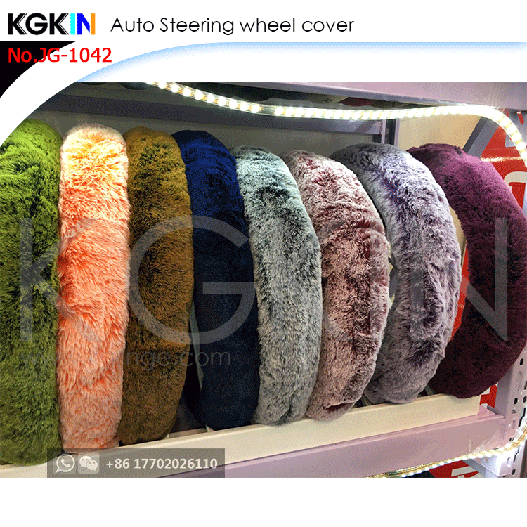 Kgkin Universal Fur Car Steering Wheel Covers