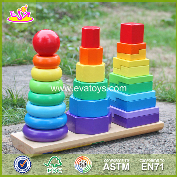 2017 New design wooden baby stacking toys funny wooden stacking rings toys educational wooden stacke