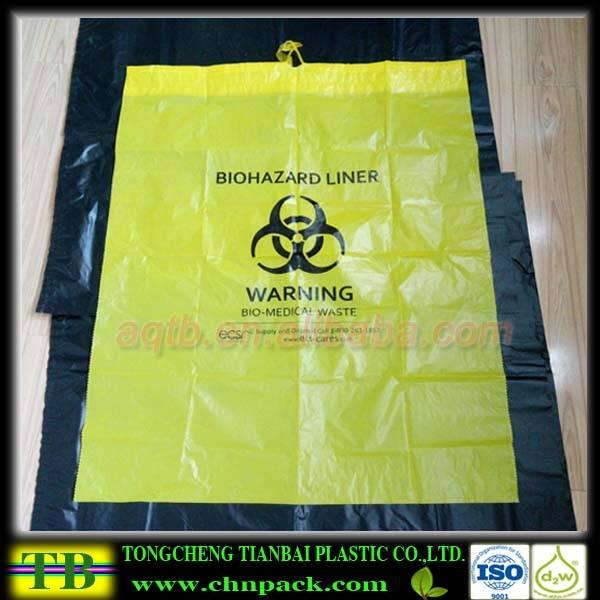 Yellow biohazard waste bag with drawstring