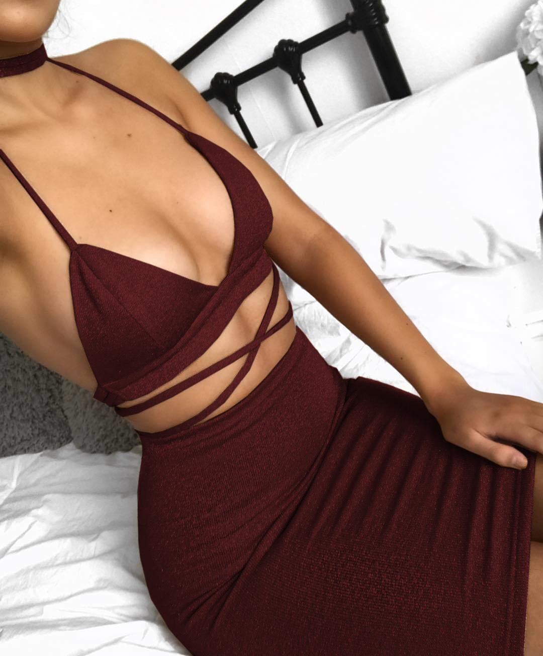 2018 Hot Sale Deep V Neck Hollow Out Sexy Night Wear Sets 2 Bandage Backless Club Wear Pecil wear Se