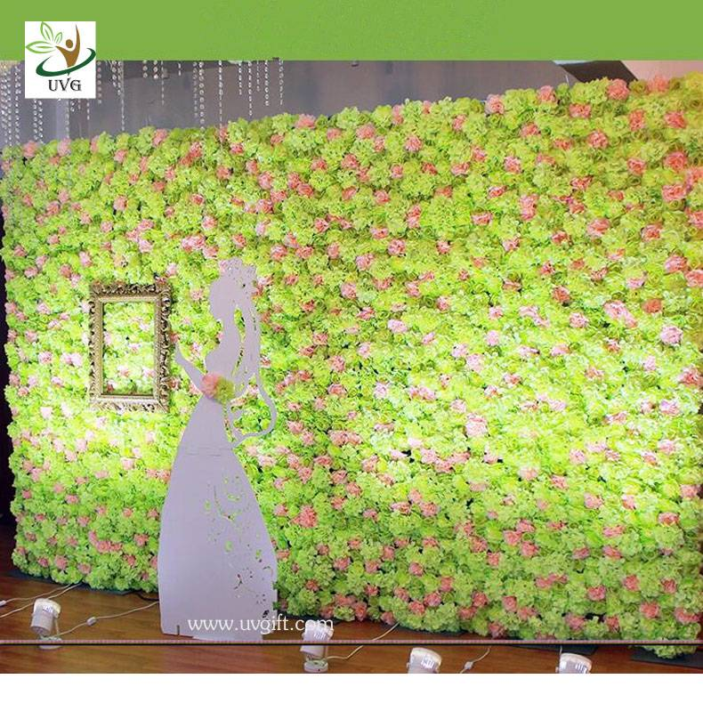 UVG Green artificial rose and hydrangea flower wall for wedding stage backdrop decoration
