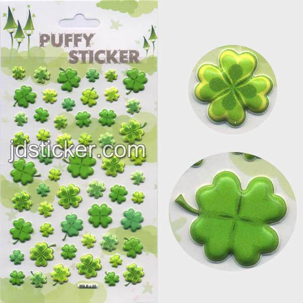 Lovely clover puffy stickers,foam sticker , customized design of puffy sticker welcome