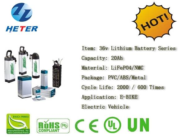 36v20Ah E-Bike Lithium Battery; EV/Scooter/Moped Battery; LiFePO4/NMC Battery Series; 36v Li-ion Bat