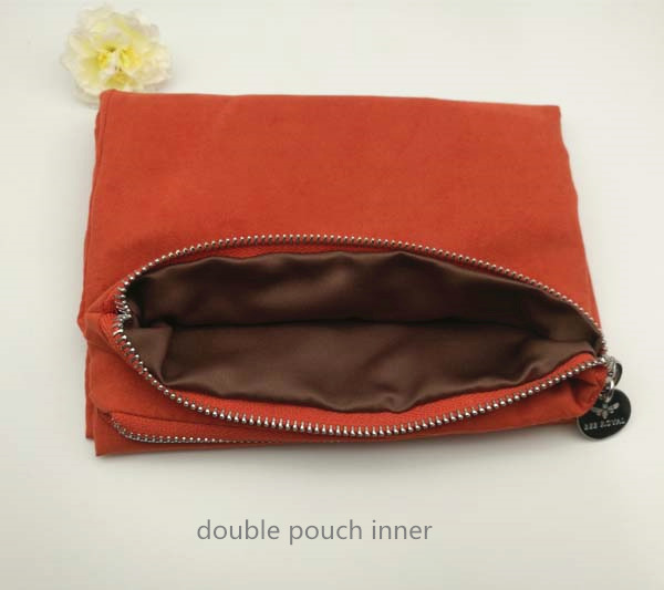 Double layers suede satin zipper pouch clothes organizier