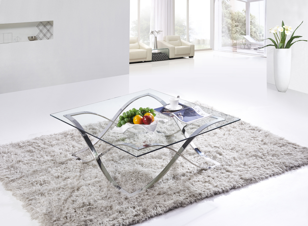 SHIMING FURNITURE MS-3350 Modern design glass top coffee table with polish stainles steel foot