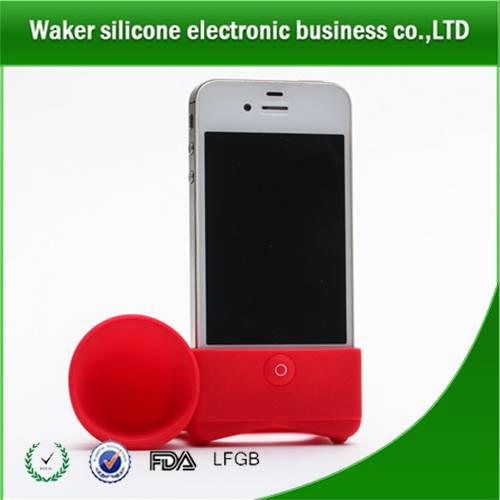 Silicone horn amplifier with phone stand