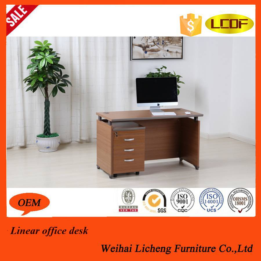 Linear office desk with wooden legs