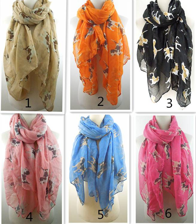 Little cute puppy dogs print scarves 100*180cm 100%polyester