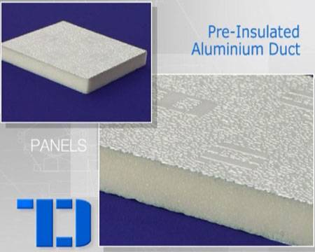 Pre-insulated air duct panel with PU foam