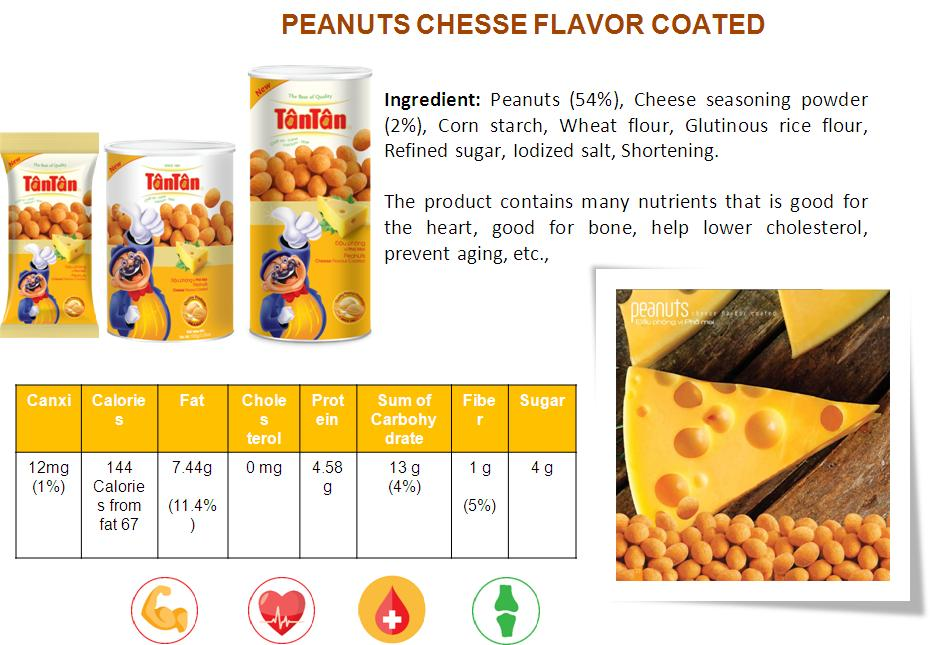 Crispy PEANUT Cheese flavor snack coated covered wrapped (Tan Tan brand Vietnam, Jolie 84983587558