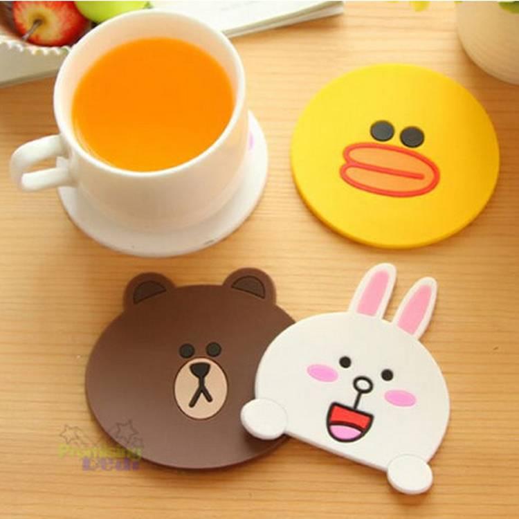 cartoon figure shape designed pvc cup mat for mug cup tea cup coffee cup