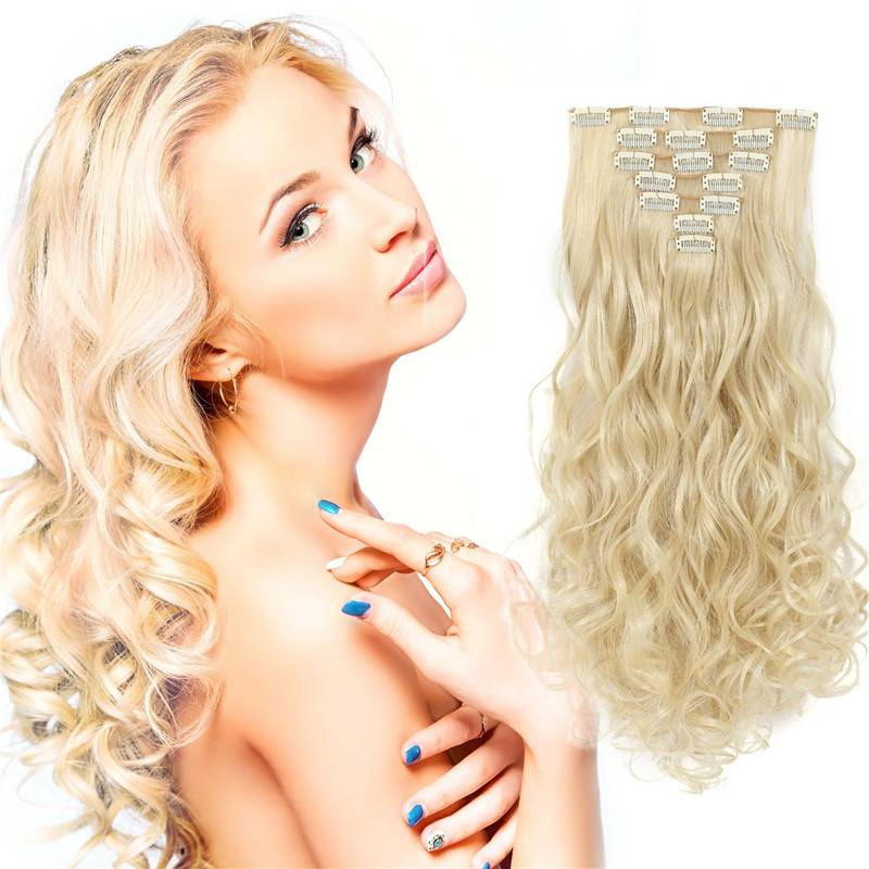 613# COLOR Blonde hair wavy CLIP-ON EXTENSIONS