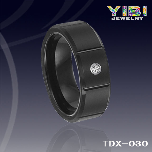 Black tungsten carbide flat with rims diamond comfort fit band with satin finish center and bright c