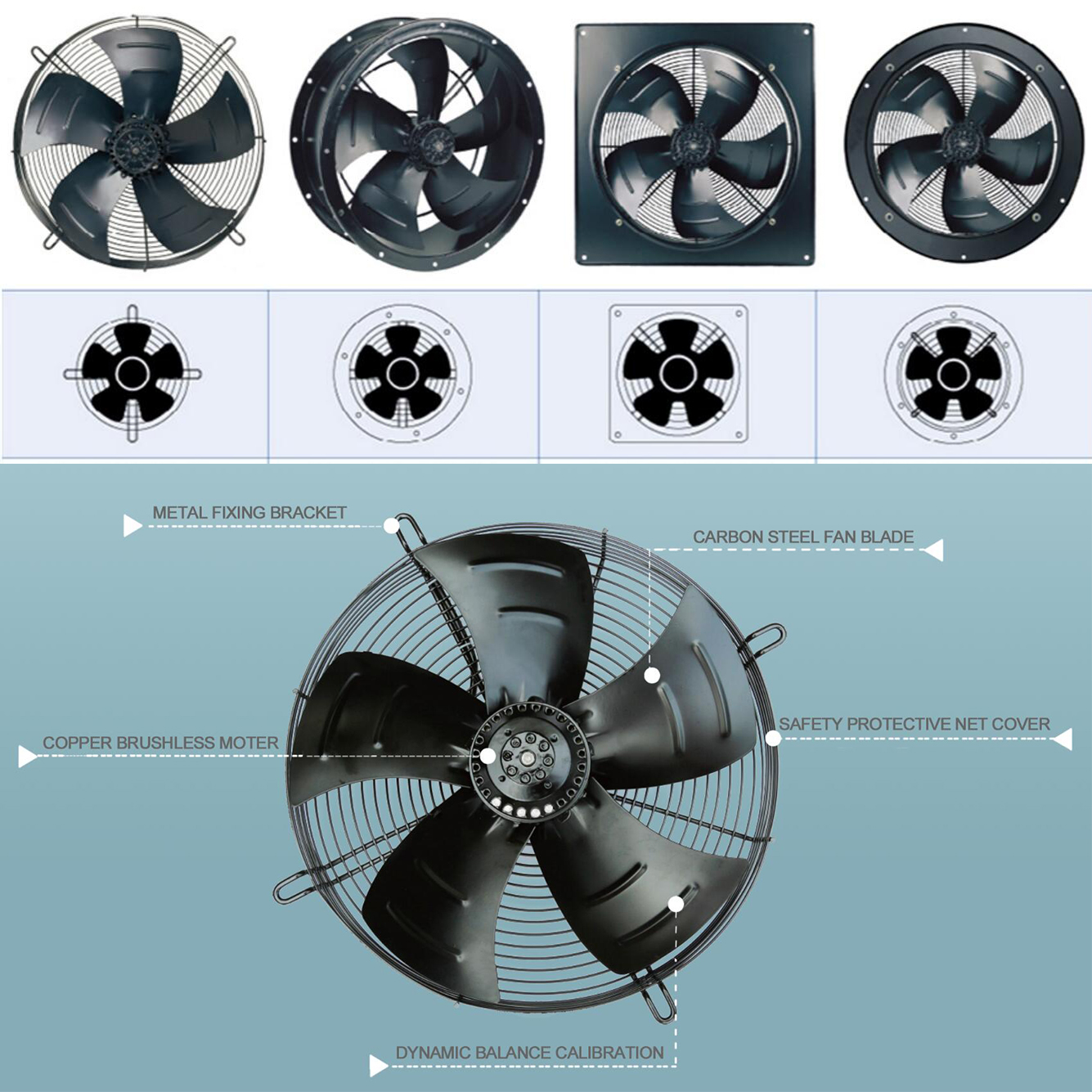 16 Inch Dia 400mm 110V AC Ventilation Fan with Steel Blades for Electric