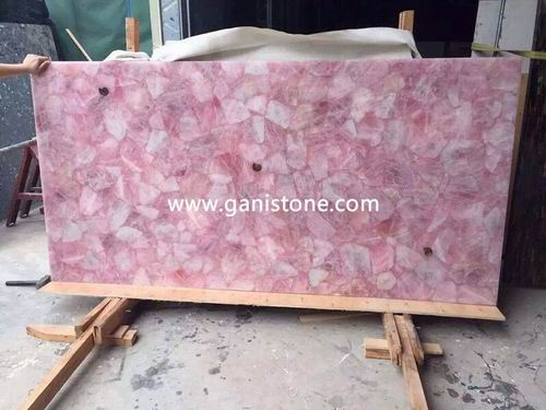 Rosa Quartz Crystal Stone Slab