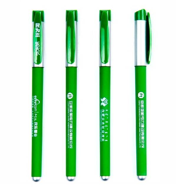 wholesale pens fashion green advertising pen custom promotional gel pen customized LOGO printing