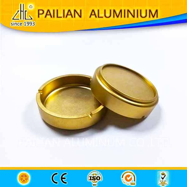 hign class aluminium cnc die casting cigarette ashtray, golden sand blasted finish aluminium ashtray
