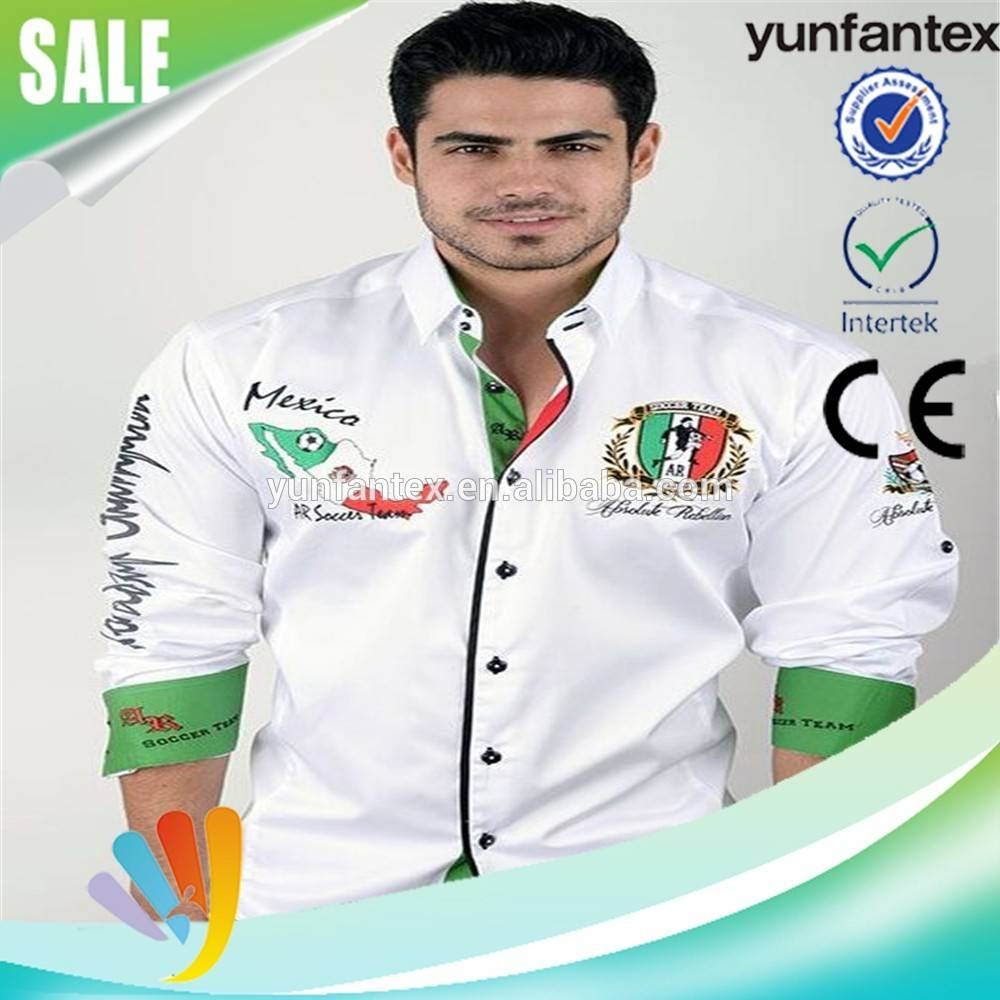 2016 latest cotton EMB white footbal l embroidery shirts