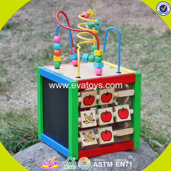 2017 wholesale wooden cubic wire bead children wooden cubic wire bead colorful wooden cubic wire