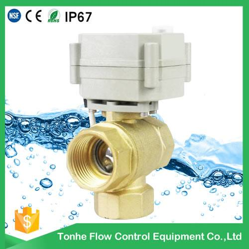 1 inch 12V/24V 3 way type Brass electric ball valve CR202 2 Wires Normally Closed