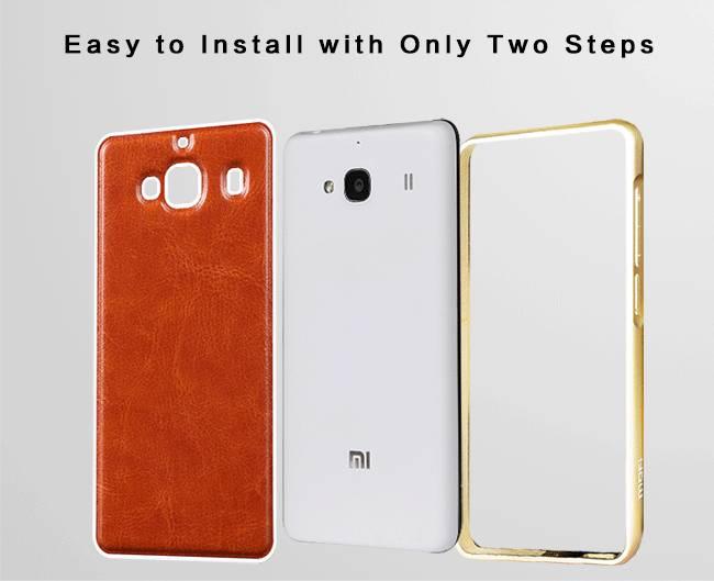 MOFI Unique Design Xiaomi Redmi 2 Aluminum Bumper Cases with PU Leather Back Cover Shell