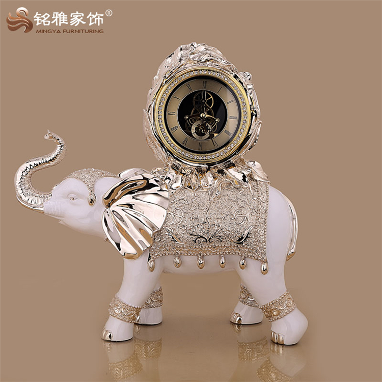 Resin elephant table elephant statue with gear clock for home decoration